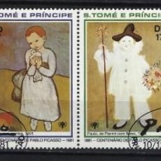 Timbres: PICASSO / S.TOME Y PRINCIPE 1981 - CENTENARIO NACIMIENTO DEL PINTOR, S.COMPLETA EN TIRA DE 4 - USADO. Lote 213854986