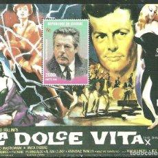 Sellos: SENEGAL 1998 HB *** HISTORIA DEL CINE - LA DOLCE VITA - MARCELO MASTROIANI. Lote 215541450