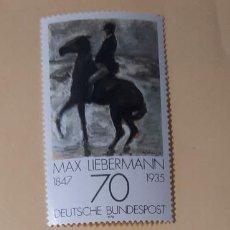Sellos: SERIE DE 4 SELLOS/ SIN USAR- PINTORES ALEMANES-LOVIS CORINTH/MAX SLEVOGT/MAX LIEBERMANN-1978. Lote 215729927