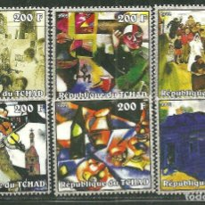 Sellos: TCHAD 2002 IVERT 1397/402 *** PINTURA - CUADROS DE MARC CHAGAL - ARTE. Lote 216016637