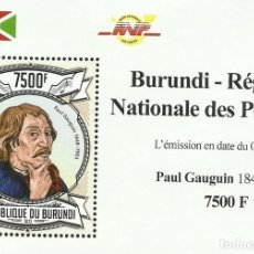 Sellos: BURUNDI 2013 HOJA BLOQUE SELLOS ARTE PINTURA IMPRESIONISTA AMERICANOS- PAUL GAUGUIN IMPRESIONISMO. Lote 217035406