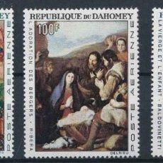 Sellos: DAHOMEY 1966 AEREO IVERT 50/2 *** TAPICERÍA Y PINTURA - BEAUNE - RIVERA Y BALDOVINETTI - ARTE. Lote 217713850