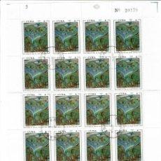 Sellos: CUBA PINTURA 1972. PLIEGO COMPLETO DE SELLOS MATASELLADOS EN CUBA LA HABANA. Lote 223648030