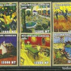 Sellos: MOZAMBIQUE 2001 IVERT 1694BP/BU *** ARTE - CUADROS DE VINCENT VAN GOGH - PINTURA - SIN DENTAR. Lote 224478268