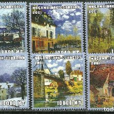 Sellos: MOZAMBIQUE 2001 IVERT 1694CY/DD *** ARTE - CUADROS DE ALFRED SISLEY - PINTURA. Lote 224479516