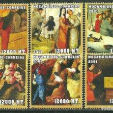 Sellos: MOZAMBIQUE 2001 IVERT 1694EE/EK *** ARTE - CUADROS DE BOSCH - PINTURA. Lote 224480522