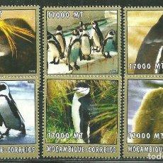 Sellos: MOZAMBIQUE 2002 IVERT 2240/45 *** FAUNA MARINA - ARBATROS Y PINGUINOS. Lote 224481802