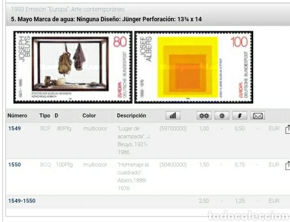 Sellos: Sellos Alemania R Federal nuevo/1993/europa/CEPT/arte/contemporaneo/pintura/cuadros/cuadrado/acampad - Foto 2 - 230848050