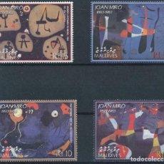 Sellos: MALDIVAS 2003 IVERT 3433/6 *** ARTE - CUADROS DE JOAN MIRÓ - PINTURA. Lote 232123420