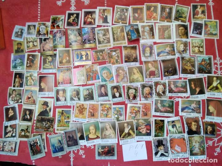 PIN4-LOTE 100 SELLOS DIFERENTES PINTURAS ARTE, ALTO VALOR Y CALIDAD.FOTO REAL.GRAN FORMATO. LOT 100 (Sellos - Temáticas - Arte)