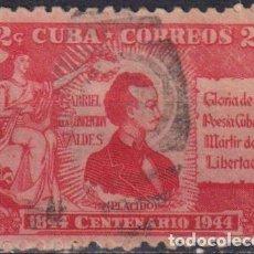 Sellos: 206-2 CUBA 1946 U THE 100TH ANNIVERSARY OF THE DEATH OF GABRIEL DE LA CONCEPCION VALDES - POET. Lote 238902105