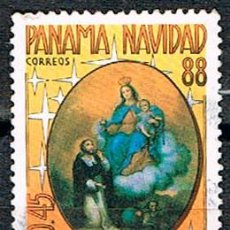 Sellos: PANAMA, CUADRO ANONIMO: VIRGEN DEL EOSARIO CON SANTO DOMINGO, USADO. Lote 239466190