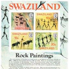 Sellos: 1977 SWAZILAND PINTURAS RUPESTRES ROCK PAINTINGS HOJA BLOQUE NUEVA**. Lote 240581755