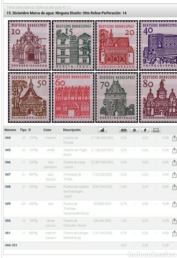 Sellos: Sello Alemania R. Federal mtdos/1964/serie/basica/edificios/S.XII/arte/arquitectura/castillo/fortalr - Foto 2 - 240697135