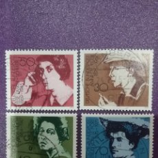 Sellos: SELLO ALEMANIA R. FEDERAL MTDOS/1975/MUJERES/FAMOSOS/ESCRITORAS/ARTE/A.KOLB/R.HUCH/E.LASKER/G.FRIEND. Lote 245471700