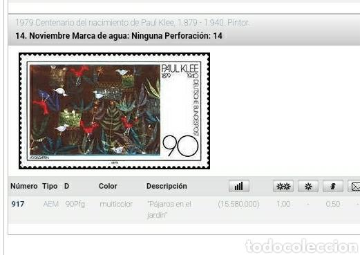 Sellos: Sello Alemania R. Federal nuevo/1979/Cent/nacimiento/P.Klee/pintor/artista/cuadro/aves/jardin/flora/ - Foto 2 - 246463650