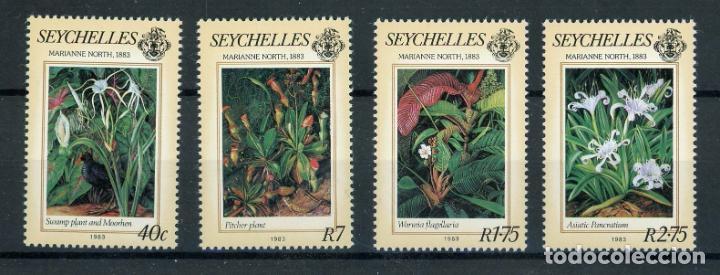 SEYCHELLES 1983 IVERT 535/8 *** FLORA - PINTURAS DE MARIAN NORTH - ARTE (Sellos - Temáticas - Arte)