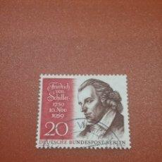 Sellos: SELLO ALEMANIA, BERLIN MTDOS/1959/FRIEDRICH/SCHILLER/FAMOSO/POETA/HISTORIADOR/FILOSOFO/ARTE/GRAMATUR. Lote 254003105