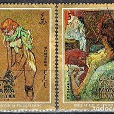 Sellos: MANAMA (EMIRATOS ARABES UNIDOS), TOULOUSE LAUTREC, CUADROS, USADO. Lote 255435620