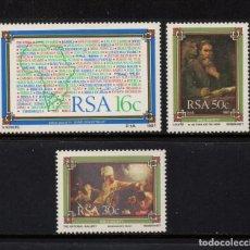 Sellos: SUDAFRICA 631/33** - AÑO 1987 - PINTURA - OBRAS DE REMBRANDT - SOCIEDAD BIBLICA DE AFRICA DEL SUR. Lote 257328375