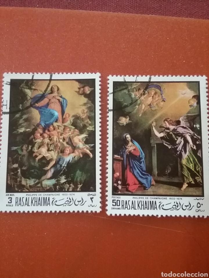 SELLO RAS AL KHAIMA MTDO (E.A.U)/1970/2 DE 3V/PASCUA/RELIGION/ARTE/CUADROS/PINTURAS/ARTE/ARTISTAS/CR (Sellos - Temáticas - Arte)