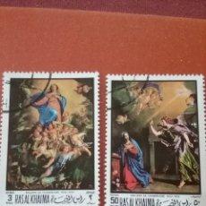 Selos: SELLO RAS AL KHAIMA MTDO (E.A.U)/1970/2 DE 3V/PASCUA/RELIGION/ARTE/CUADROS/PINTURAS/ARTE/ARTISTAS/CR. Lote 262051410