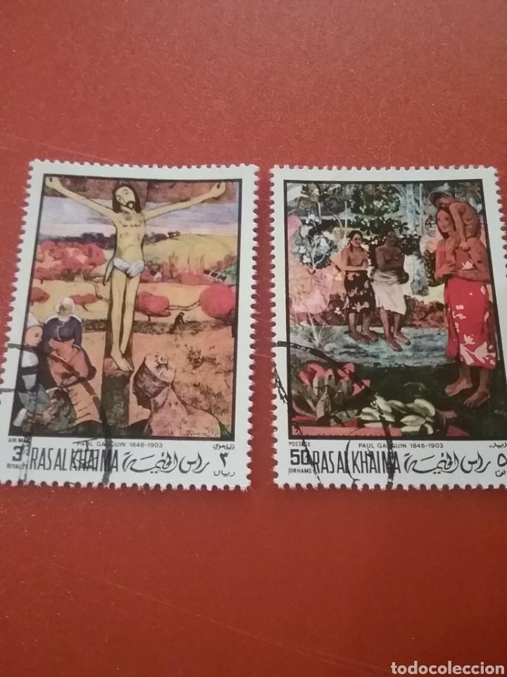 SELLO RAS AL KHAIMA MTDO (E.A.U)/1970/2 DE 3V/PASCUA/RELIGION/ARTE/CUADROS/PINTURAS/ARTISTAS/GAUGUI (Sellos - Temáticas - Arte)