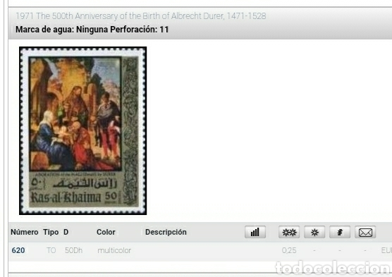 Sellos: Sello Ras Al Khaima mtdo (E.A.U)/1971/500Aniv/nacimiento/Albrecht/Durer/srye/pintor/cuadro/religion/ - Foto 2 - 262057235