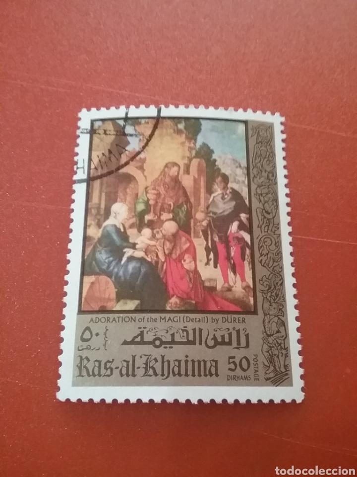SELLO RAS AL KHAIMA MTDO (E.A.U)/1971/500ANIV/NACIMIENTO/ALBRECHT/DURER/SRYE/PINTOR/CUADRO/RELIGION/ (Sellos - Temáticas - Arte)