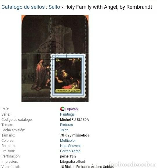 Sellos: HB Fujeira (E.A.U) mtdo/1972/arte/pintura/cuadro/Rembrandt/religion/sagrada/familia/famoso/celebrida - Foto 2 - 262294055