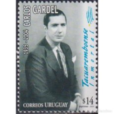 Sellos: ⚡ DISCOUNT URUGUAY 2004 THE 69TH ANNIVERSARY OF THE DEATH OF CARLOS GARDEL MNH - SINGERS. Lote 268836334