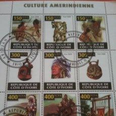 Sellos: HB COSTA MARFIL (COTE D,IVOIRE) MTDOS/2009/CULTURA/A,ERICANA/INDIO/CONSTUMBRES/TRAJES/TIPICOS/CABALL. Lote 269232758
