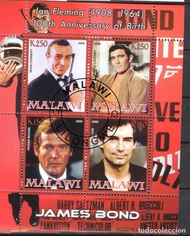 MALAWI 2008 HOJA BLOQUE SELLOS 100 ANIV. ACTOR IAN FLEMINGO JAMES BOND AGENTE 007- CONNERY- MOORE (Sellos - Temáticas - Arte)