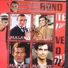 Sellos: MALAWI 2008 HOJA BLOQUE SELLOS 100 ANIV. ACTOR IAN FLEMINGO JAMES BOND AGENTE 007- CONNERY- MOORE. Lote 270577493