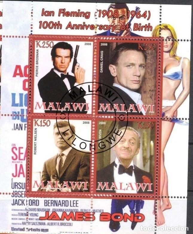 MALAWI 2008 HOJA BLOQUE SELLOS 100 ANIV. ACTOR IAN FLEMINGO JAMES BOND AGENTE 007- BROSMAN- CRAIG (Sellos - Temáticas - Arte)