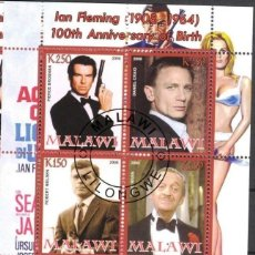 Sellos: MALAWI 2008 HOJA BLOQUE SELLOS 100 ANIV. ACTOR IAN FLEMINGO JAMES BOND AGENTE 007- BROSMAN- CRAIG. Lote 270577543