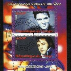 Sellos: CONGO 2011 HOJA BLOQUE DE SELLOS LEYENDAS DE LA MUSICA- EL REY DEL ROCK: ELVIS PRESLEY. Lote 270578688