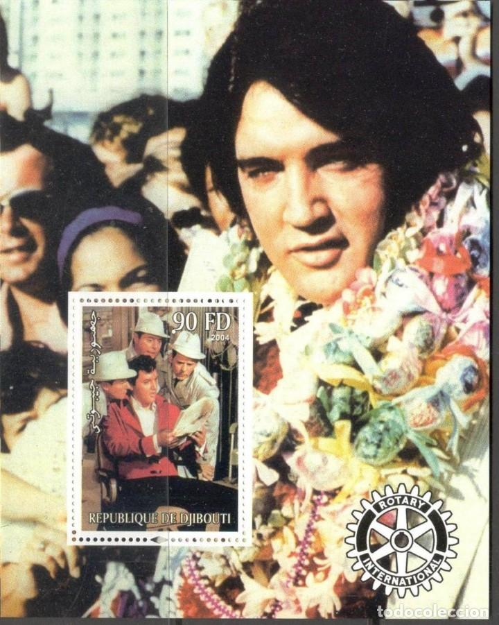 DJIBOUTI 2004 HOJA BLOQUE DE SELLOS LEYENDAS DE LA MUSICA- EL REY DEL ROCK: ELVIS PRESLEY (Sellos - Temáticas - Arte)
