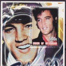 Sellos: MYANMAR 2001 HOJA BLOQUE DE SELLOS LEYENDAS DE LA MUSICA- EL REY DEL ROCK: ELVIS PRESLEY. Lote 270578968