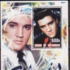 Sellos: MYANMAR 2001 HOJA BLOQUE DE SELLOS LEYENDAS DE LA MUSICA- EL REY DEL ROCK: ELVIS PRESLEY. Lote 270578998