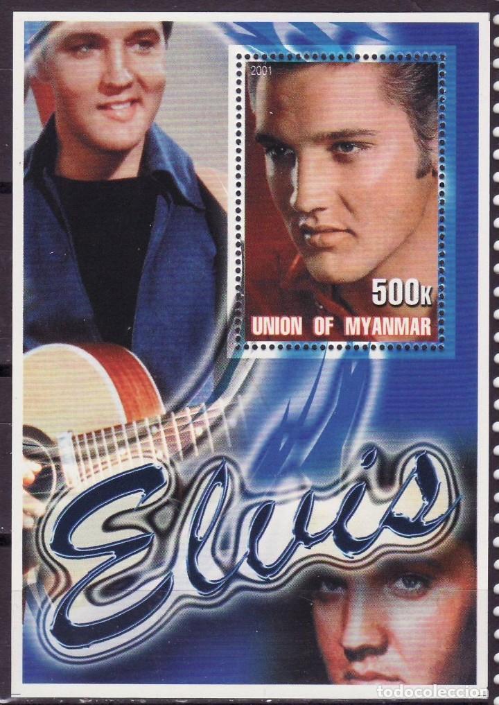 MYANMAR 2001 HOJA BLOQUE DE SELLOS LEYENDAS DE LA MUSICA- EL REY DEL ROCK: ELVIS PRESLEY (Sellos - Temáticas - Arte)