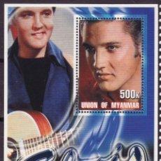 Sellos: MYANMAR 2001 HOJA BLOQUE DE SELLOS LEYENDAS DE LA MUSICA- EL REY DEL ROCK: ELVIS PRESLEY. Lote 270579043