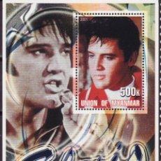 Sellos: MYANMAR 2001 HOJA BLOQUE DE SELLOS LEYENDAS DE LA MUSICA- EL REY DEL ROCK: ELVIS PRESLEY. Lote 270579103