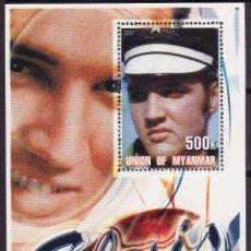 Sellos: MYANMAR 2001 HOJA BLOQUE DE SELLOS LEYENDAS DE LA MUSICA- EL REY DEL ROCK: ELVIS PRESLEY. Lote 270579143
