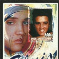 Sellos: MYANMAR 2001 HOJA BLOQUE DE SELLOS LEYENDAS DE LA MUSICA- EL REY DEL ROCK: ELVIS PRESLEY. Lote 270579203