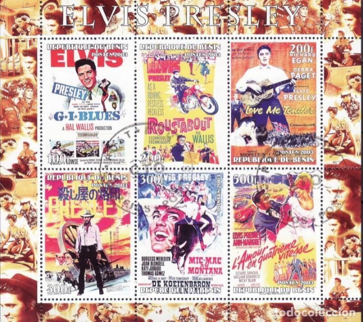BENIN 2003 HOJA BLOQUE DE SELLOS LEYENDAS DE LA MUSICA- EL REY DEL ROCK: ELVIS PRESLEY - PELICULAS (Sellos - Temáticas - Arte)
