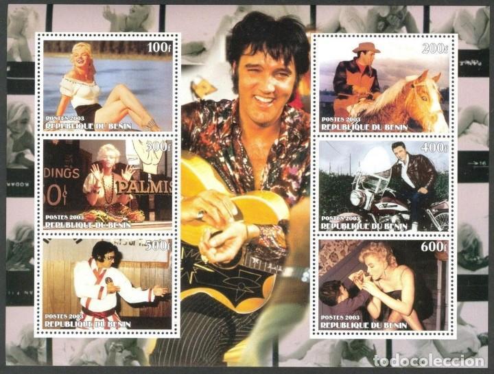 BENIN 2003 HOJA BLOQUE DE SELLOS MUSICA- EL REY DEL ROCK: ELVIS PRESLEY - MARILYN MONROE (Sellos - Temáticas - Arte)