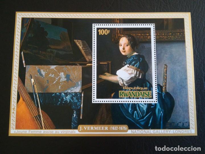 HOJA DE BLOQUE ARTE VERMEER 100 FR. RWANDAISE CON GOMA (Sellos - Temáticas - Arte)