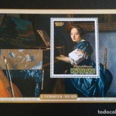 Sellos: HOJA DE BLOQUE ARTE VERMEER 100 FR. RWANDAISE CON GOMA. Lote 271368603