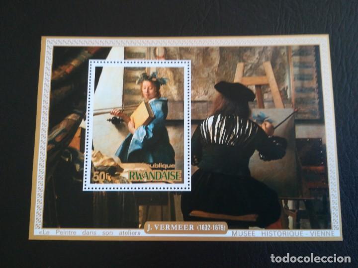 HOJA DE BLOQUE ARTE VERMEER 50 FR. RWANDAISE CON GOMA (Sellos - Temáticas - Arte)
